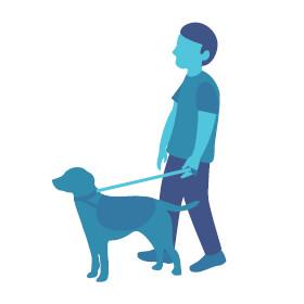 Hombre con perro guía